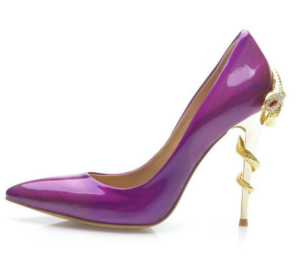 Patent Leather High Heels  Pointed Toe