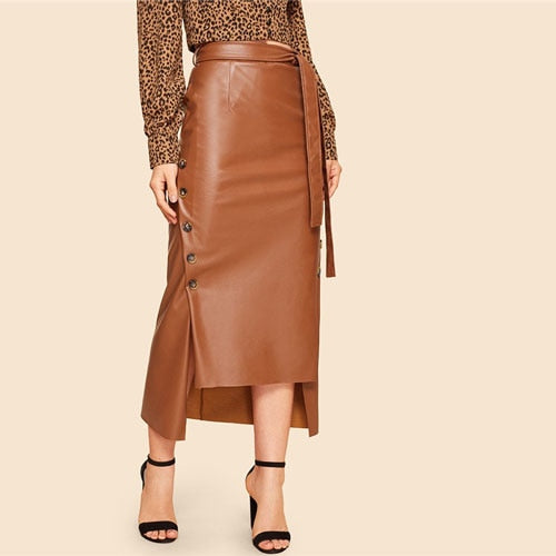 Brown Elegant Split  Leather Long Skirt