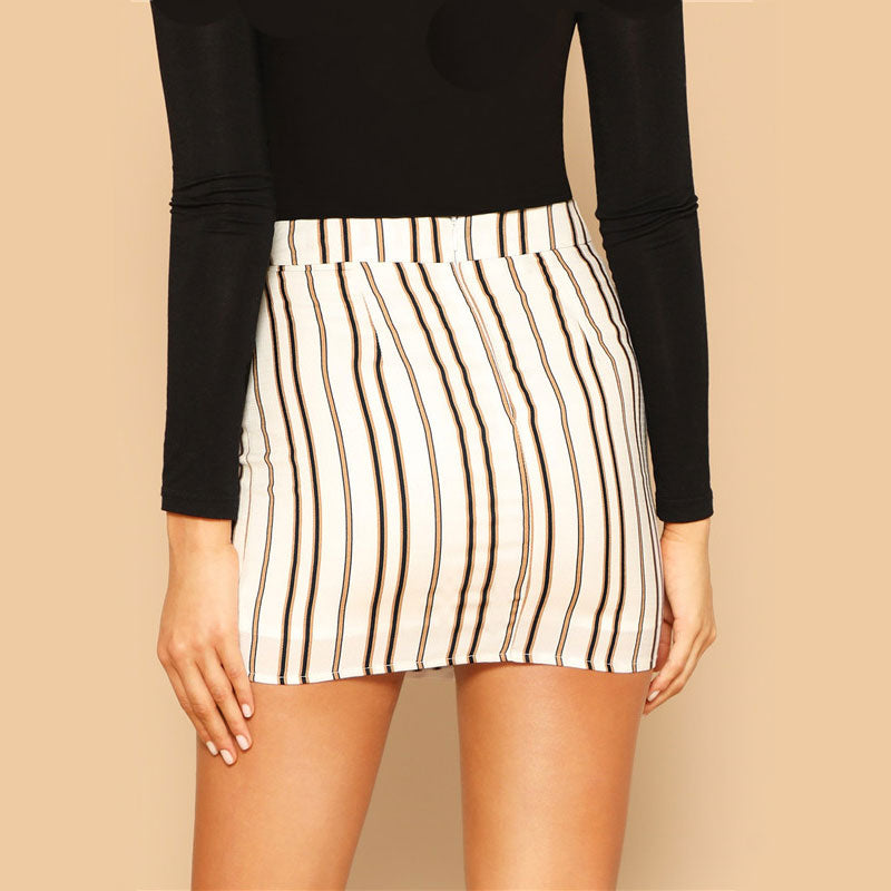 Modern Lady Multicolor Tie Side Striped  Skirt