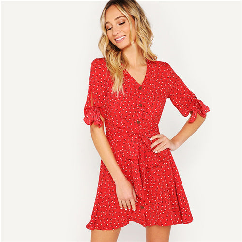 Red Knot Ditsy Floral Dress