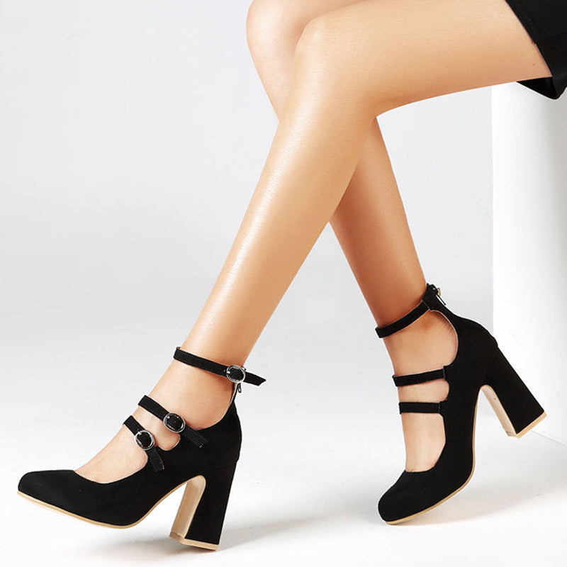 Ankle Strap Gladiator High Square Heels Pumps WXG594