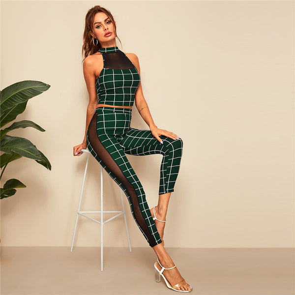 Halterneck Grid Crop Fitted Top and Leggings