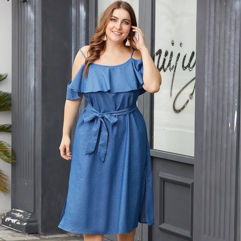 Denim Blue Ruffle Jeans Dress