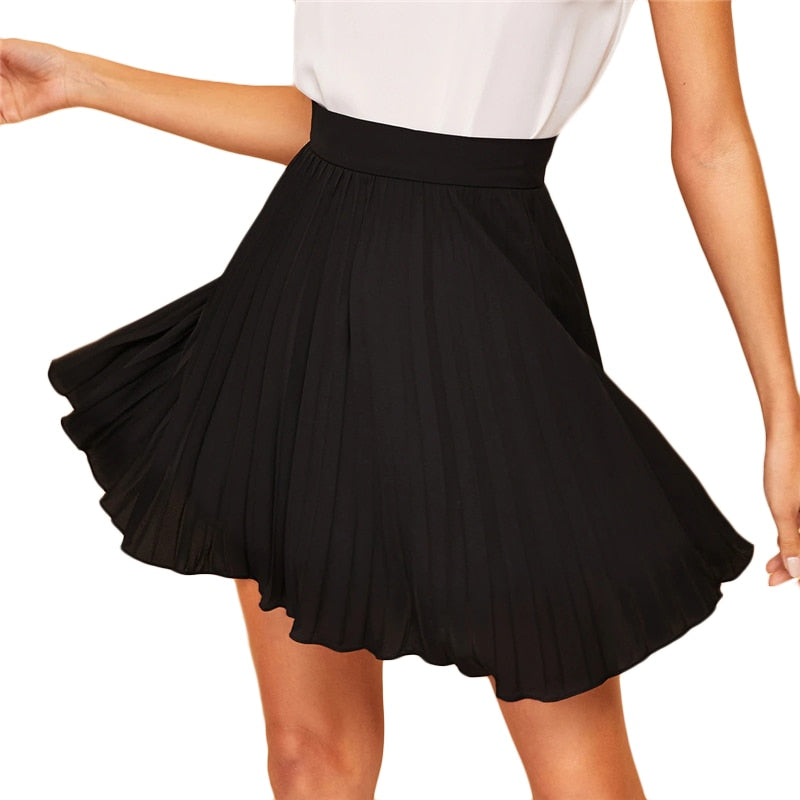Zip Side Pleated Mid-Waist  Skirt