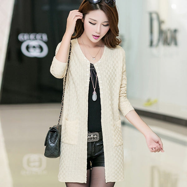 Soft and Comfortable Coat Knitted V-Neck Long Cardigan