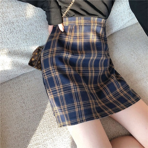Vintage Plaid A-line High Waist Skirt