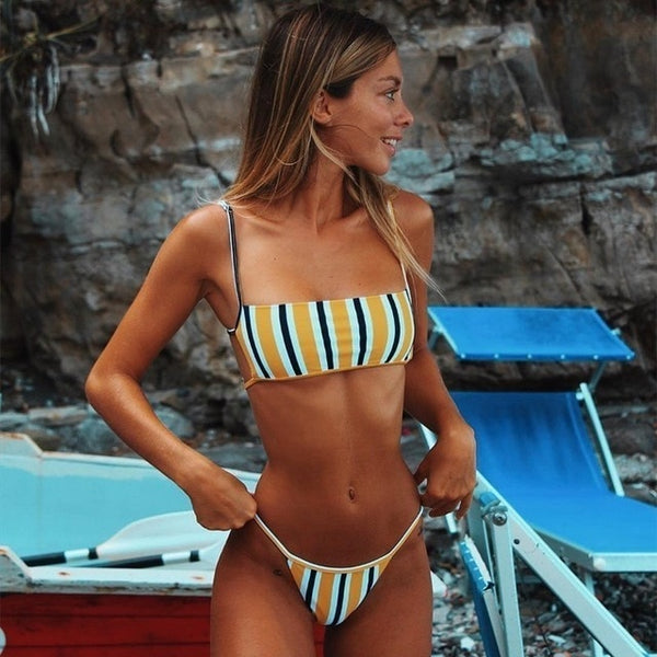 Sexy Backless Stripe Print Swimsuit
