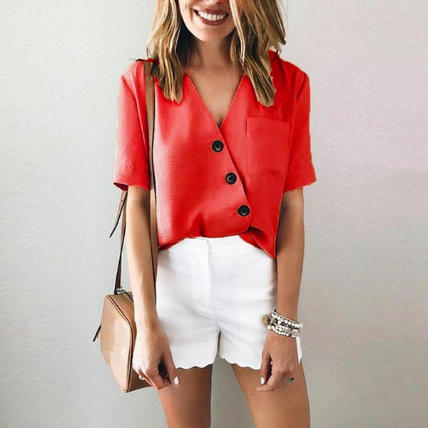 Fashion Button V-neck Short Sleeve Blouse