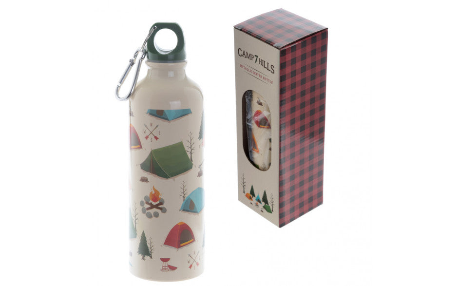 Aluminium Water Bottle with Clip featuring a fun camping design