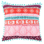 Colourful boho cushion in native American design with pom pom edging