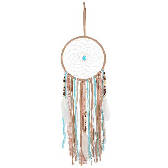 This dream catcher has a very natural look with its tan colour and is finished with feathers, beads and bright turquoise material.