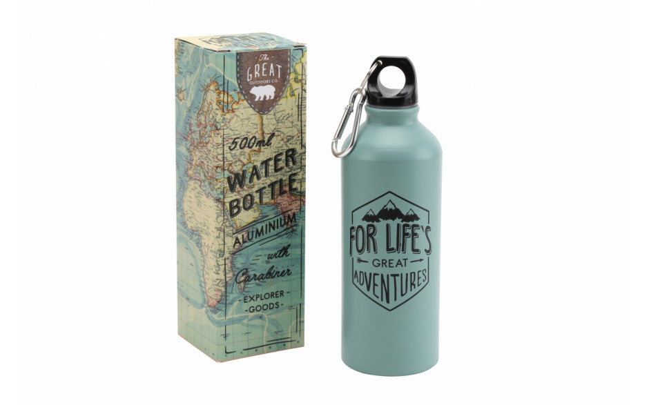 Aluminium Water Bottle 500 ml with Carabiner featuring text 'For Life's Great Adventures'