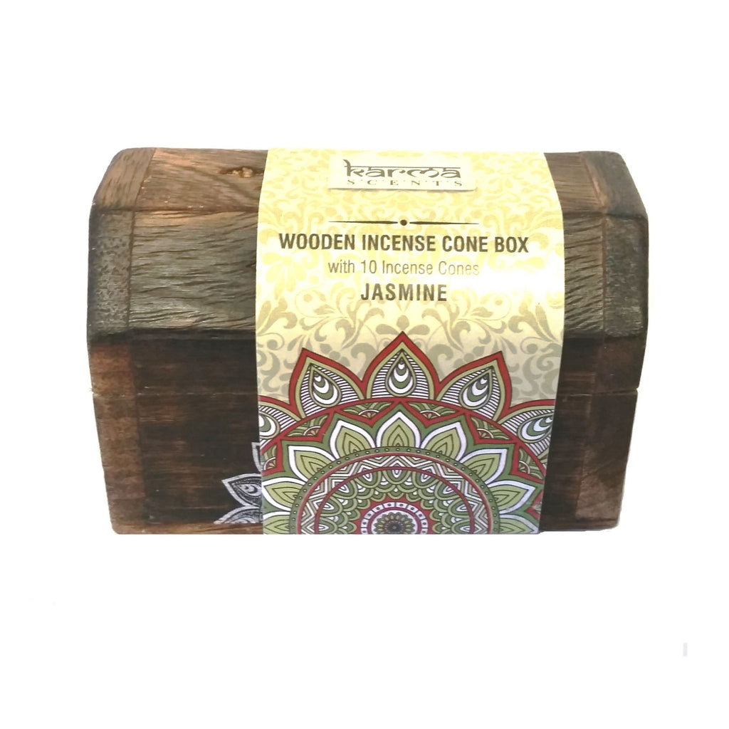 Karma Scents Jasmine Wooden Incense Cone Box