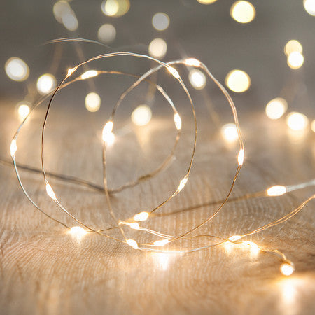 20 Warm White LED Micro Fairy Lights Silver Wire
