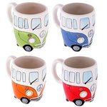 Ceramic campervan mugs in 4 colours, green, blue, orange and red