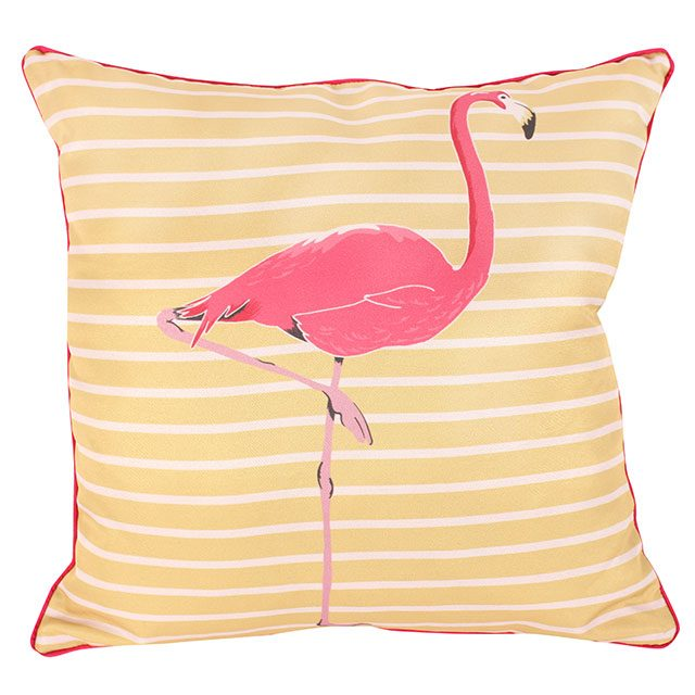 Soft yellow striped cushion featuring vibrant pink flamingo in the middle