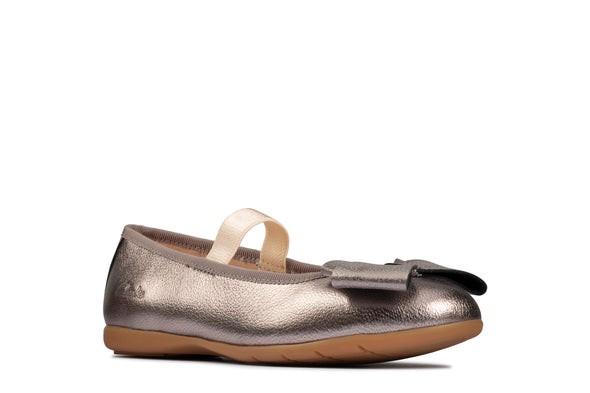 Clarks Dance Bow K Silver Leather
