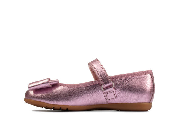 Clarks Dance Bow T Pink Leather