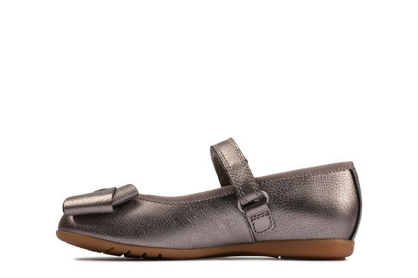Clarks Dance Bow T Silver Leather