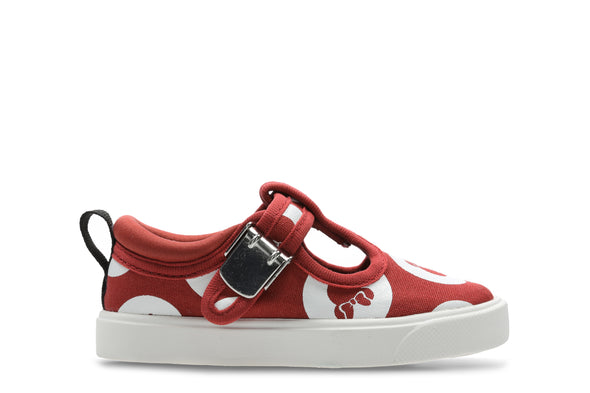 Clarks City Polka T Red Combi