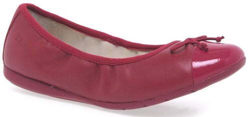 Clarks Dance Puff Jnr Berry Leather