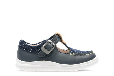 Clarks Cloud Rosa T Navy Leather