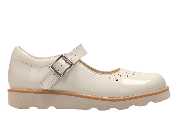 Clarks Crown Jump White Patent