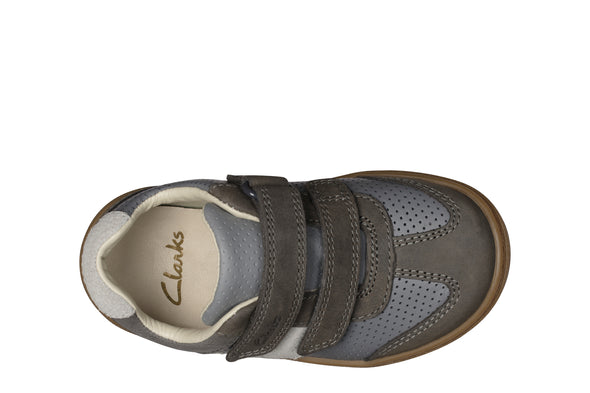 Clarks Flash Metra T Dark Grey Lea
