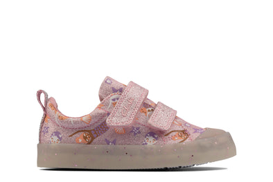 Clarks Foxing Print T Pink Canvas