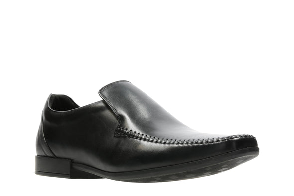 Clarks Glement Seam Black Leather