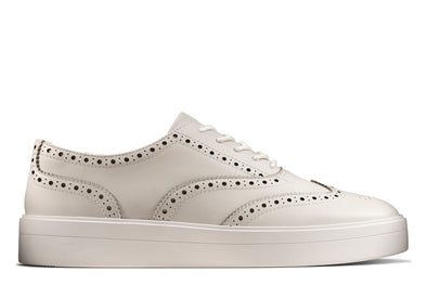 Clarks Hero Brogue. White Leather
