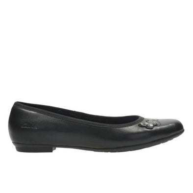 Clarks Abitha Rae Jnr Black Leather