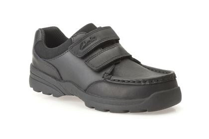 Clarks Zayden Go Jnr Black Leather