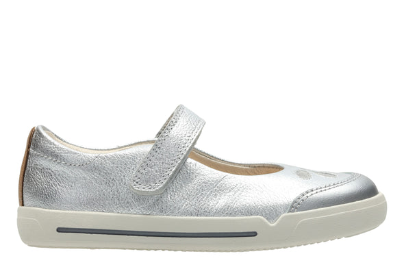 Clarks Mini Eden Silver Leather