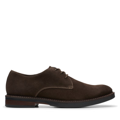 Clarks Paulson Plain Dark Brown Sued