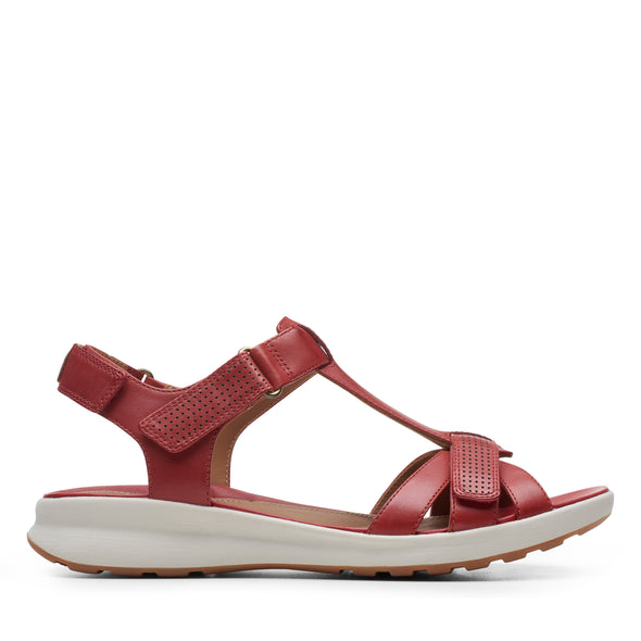Clarks Un Adorn Vibe Red Leather