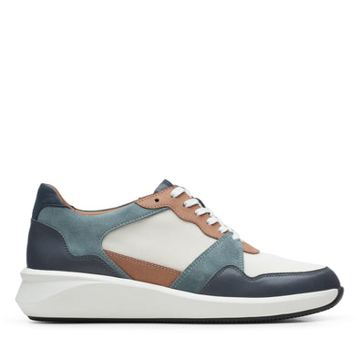 Clarks Un Rio Run White/Blue Syn