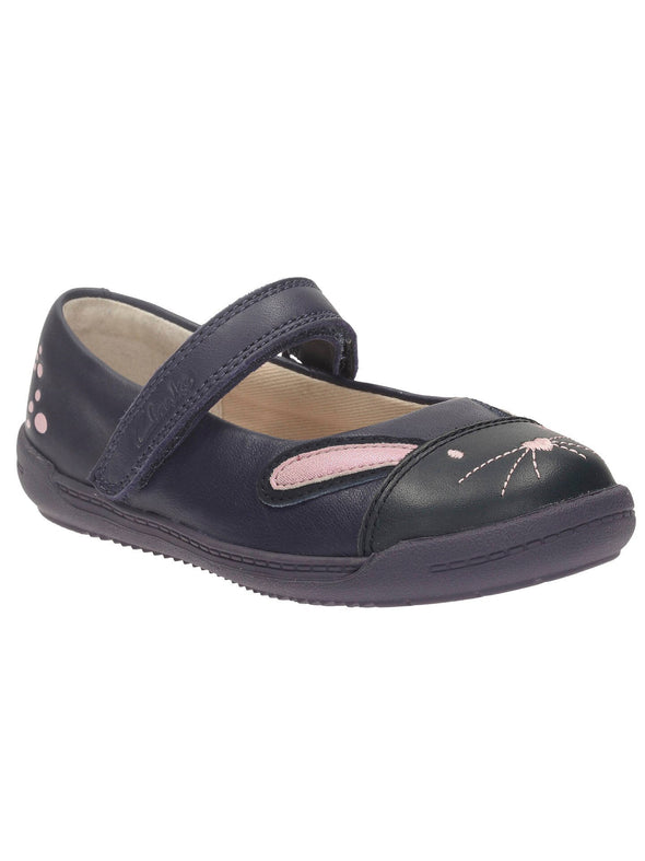 Clarks Iva Bunny Fst Navy Leather