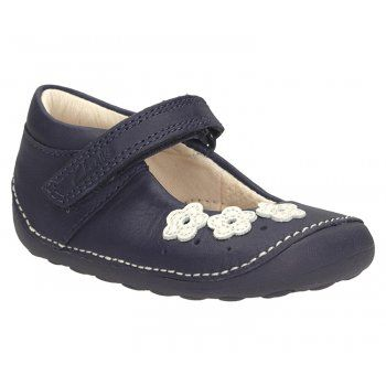 Clarks Little Darcy Navy Leather