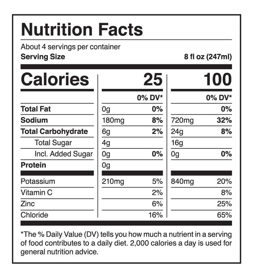 Berri Lyte Nutrition Facts Lemon Lyme