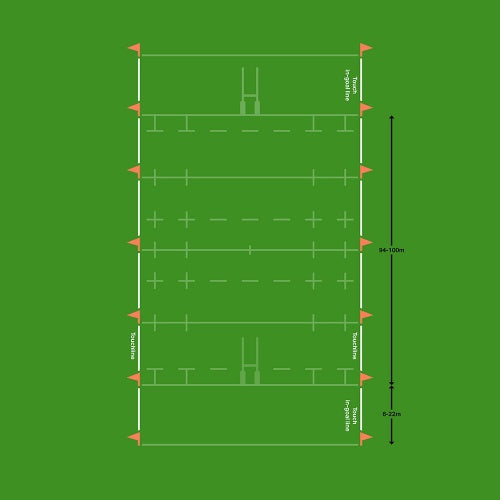 Rugby pitch touch line diagram