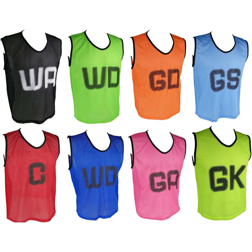 Micro Mesh Netball Training Bibs - With Positional Letters