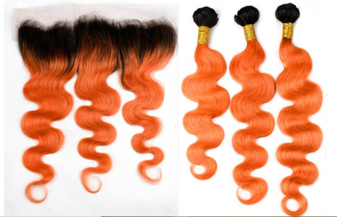 1B 350 Orange Dark Root Brazilian Body Wave Human Hair Bundles with 13*4 Lace Frontal - Mula Hair
