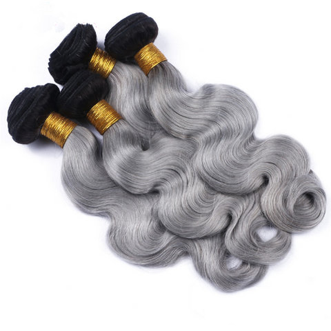 1 Bundle Ombre 1B/Grey Body Wave Human Hair (Brazilian, Indian, Peruvian & Malaysian) - Mula Hair