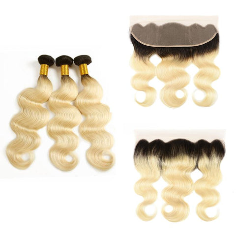 1B 613 Blonde Dark Root Brazilian Body Wave Human Hair Ombre Bundles with 13*4 Lace Frontal - Mula Hair