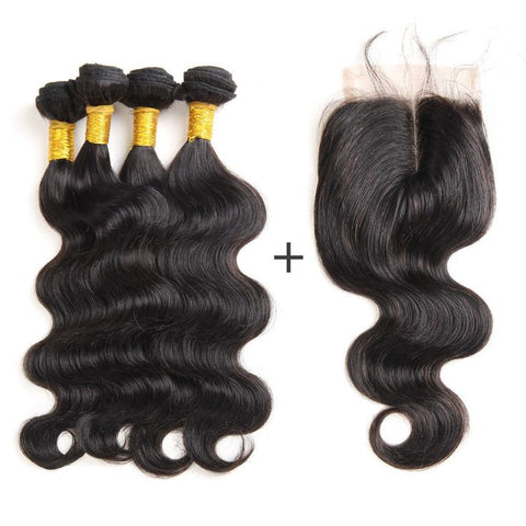 Brazilian Body Wave Bundles with 4*4 Lace Closure - Mula Hair