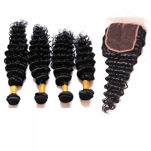 Brazilian Deep Wave Bundles with 4*4 Lace Closure - Mula Hair