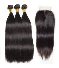Brazilian Straight Bundles with 4*4 Lace Closure - Mula Hair