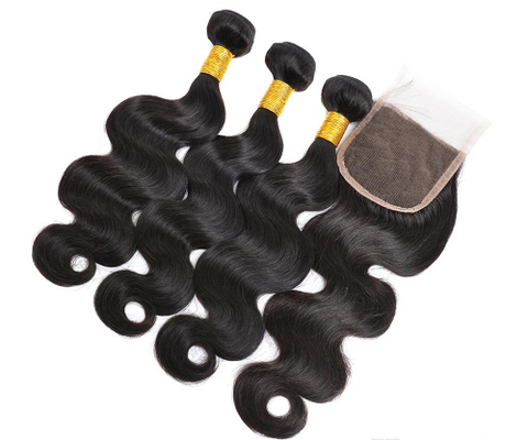 Peruvian Body Wave Bundles with 4*4 Lace Closure - Mula Hair