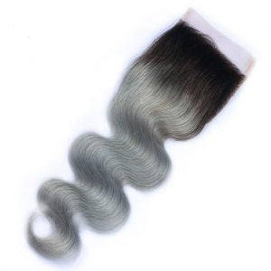 Ombre 1B/Grey Body Wave 4*4 Lace Closure - Mula Hair